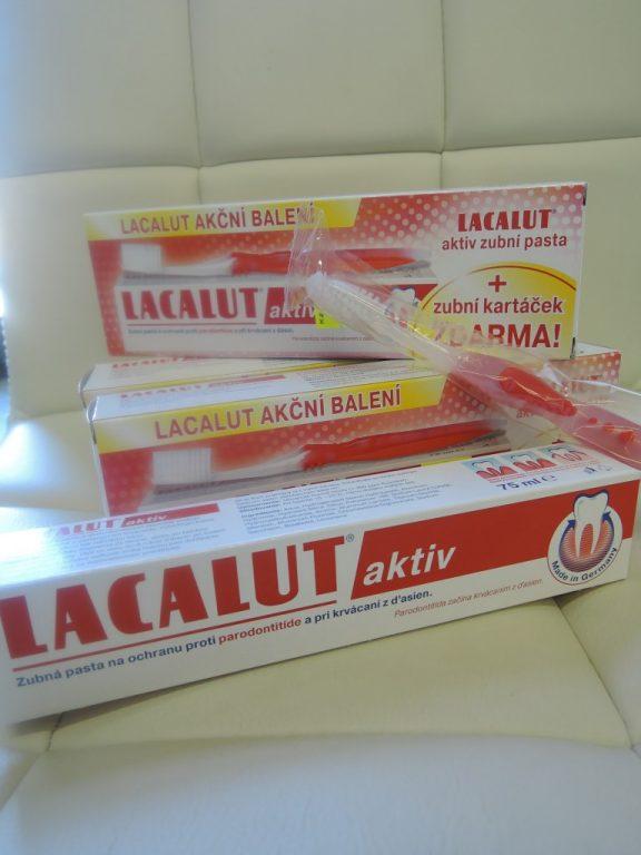 Naše lékárna má nyní v akci za velmi výhodnou cenu zubní pastu LACALUT AKTIV se zubním kartáčkem za 78,- Kč.